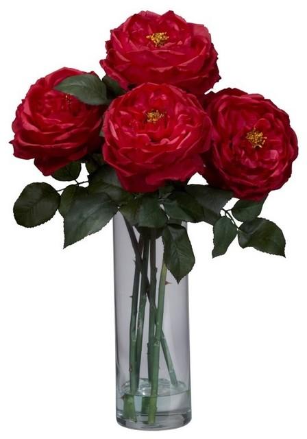 Fancy Rose With Cylinder Vase Silk Flower Arrangement Red