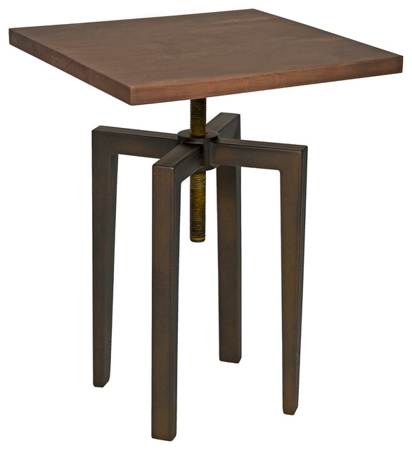 Etonnant James Industrial Loft Metal Wood Adjustable Height Side Table