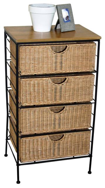 4 Drawer Wicker Wire Cabinet.