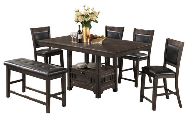 Adrianna -Piece Storage Table Set Gray - Transitional - Dining