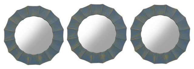 Distressed Blue Ruffled Frame Round Wall Mirrors, Set Of 3.
