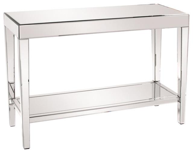 Stylish Howard Elliott Orion Mirrored Console Table With Shelf Decor.