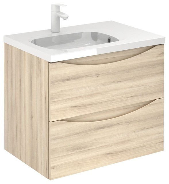 Modern Floating Bathroom Vanity 28 Inch Natural 2 Drawer With Soleil Basin Contemporary Bathroom Vanities And Sink Consoles By Bath4life