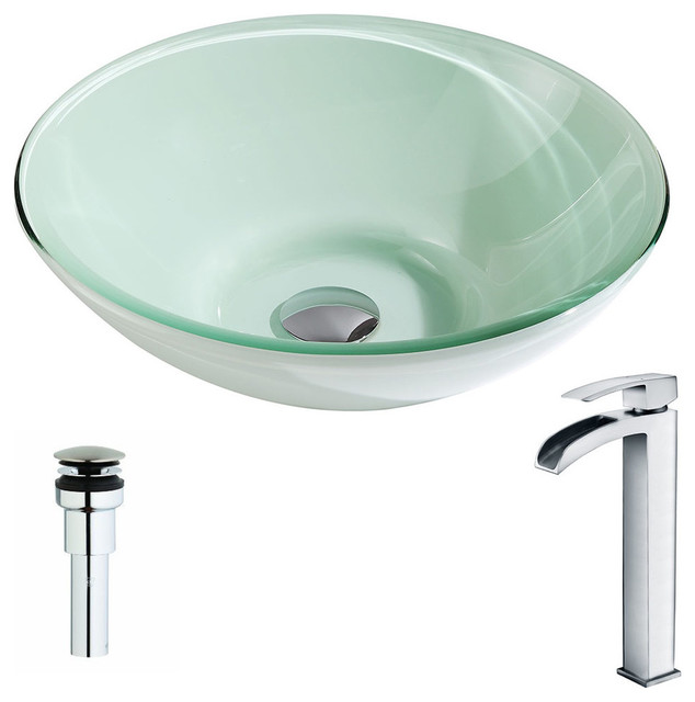 Anzzi Sonata Series Deco Glass Vessel Sink With Key Faucet