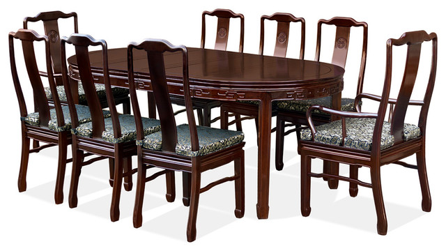 80 Rosewood Longevity Design Oval Dining Table With 8