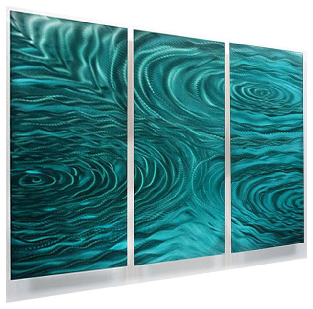 Teal Green 3-Panel Metal Wall Art, Contemporary Home Accent, Liquid  Ambiance contemporary