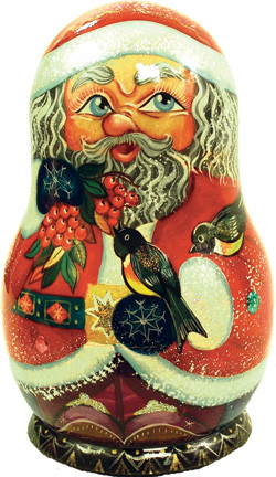 Russian 5 Piece Birdy Santa Nested Doll Set.