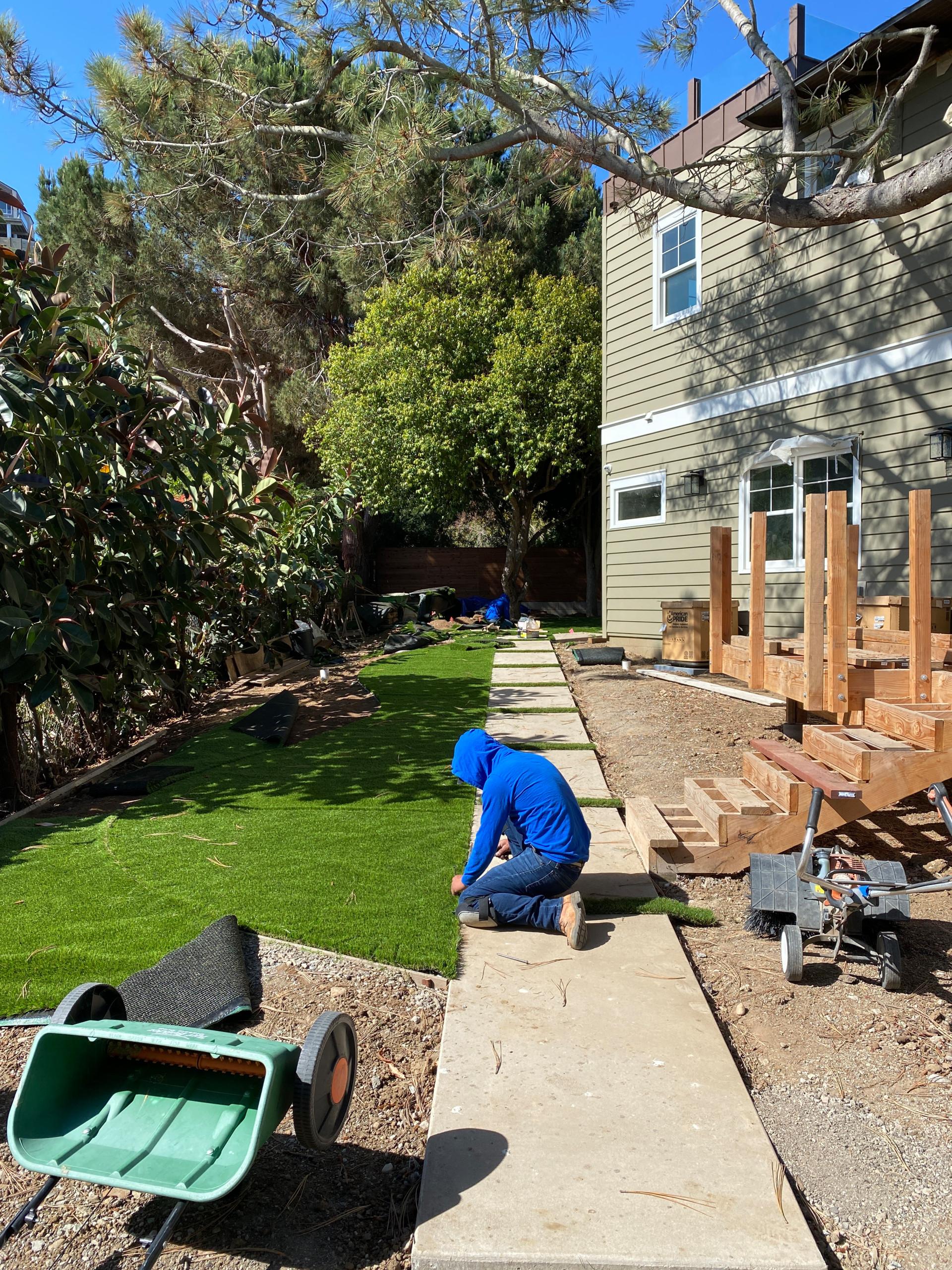 Installing Artificial Turf in La Jolla Backyard