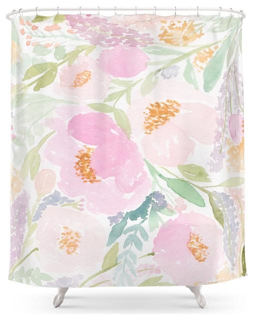 Peach Garden Floral Watercolor Shower Curtain