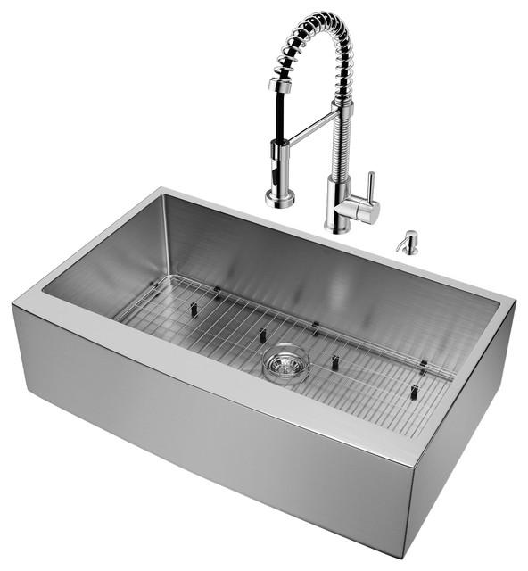 """Vigo All-In-One 36"""" Camden Stainless Steel Farmhouse Kitchen Sink Set."""