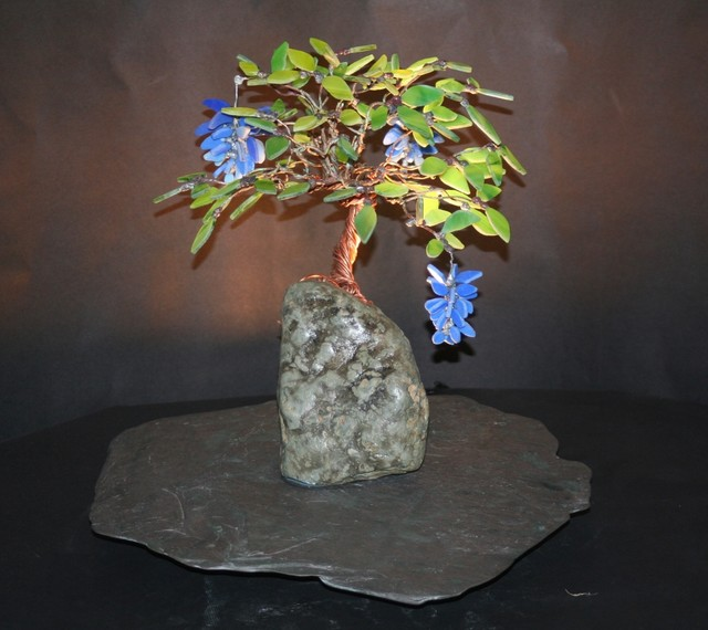 Blue Wisteria Stained Glass Bonsai Tree