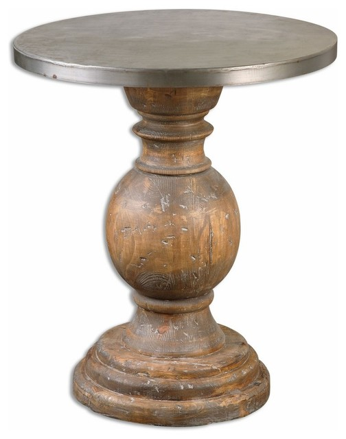 Round Column Oak Wood Pedestal Table Traditional Side Tables