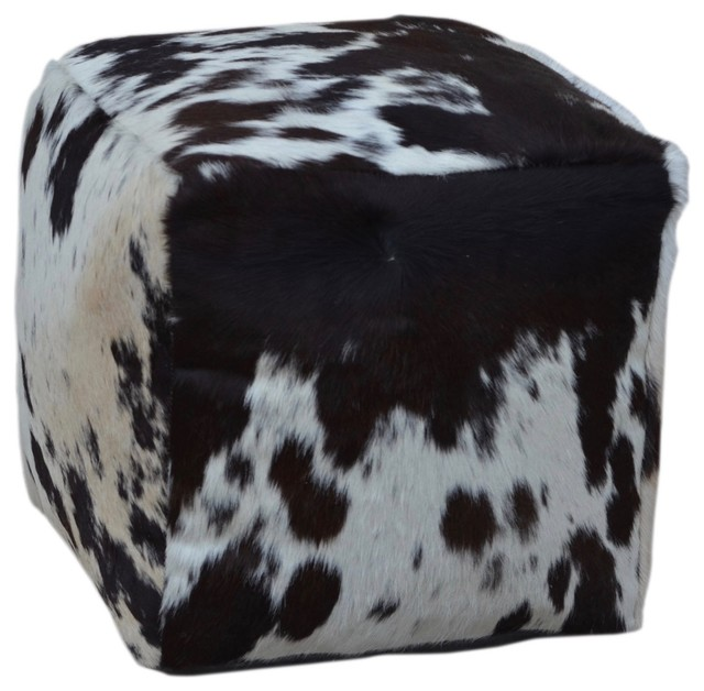 Square Cowhide Pouf, Tessa, In Black And White.