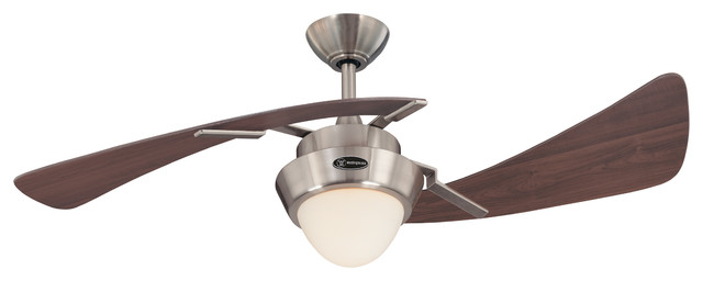 "Westinghouse 48"" Brushed Nickel And Maple Plywood 2-Blade Ceiling Fan."