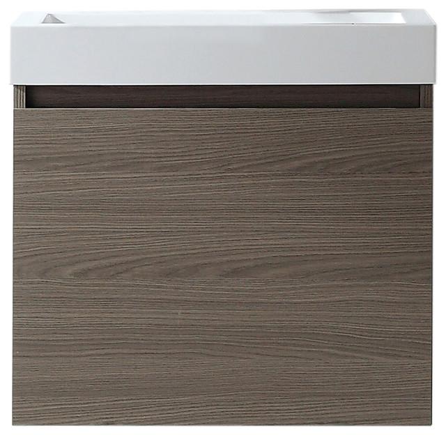Virtu Zuri 24 Single Bathroom Vanity, Gray Oak With White Polymarble Top.