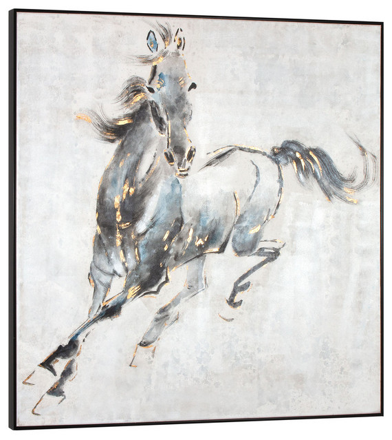 """Prancing Stallion, Hand Painted Canvas, 50"""" X 50"""""""