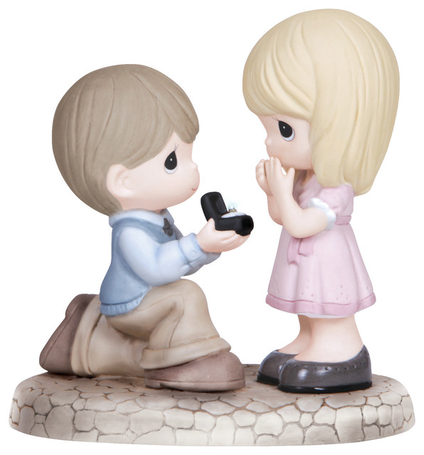 "Precious Moments ""Will You Marry Me"" Boy Proposing to Girl Figurine"