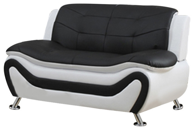 Emory Love Seat, White And Black.
