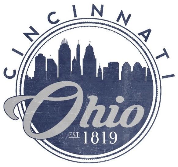 Quot Cincinnati Ohio Skyline Seal Blue Quot Print