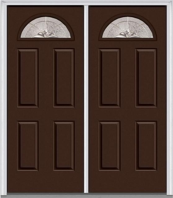 Heirloom master 1 4 lite 4 panel mahogany double door for Traditional front doors