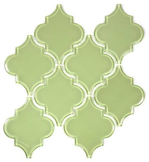 Glass Arabesque Tile, Light Olive, Case of 11
