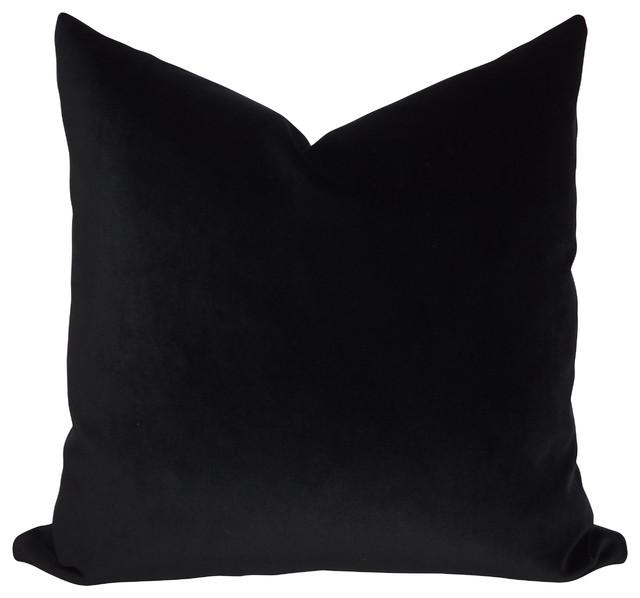 JB Martin Solid Black Velvet Throw Pillow