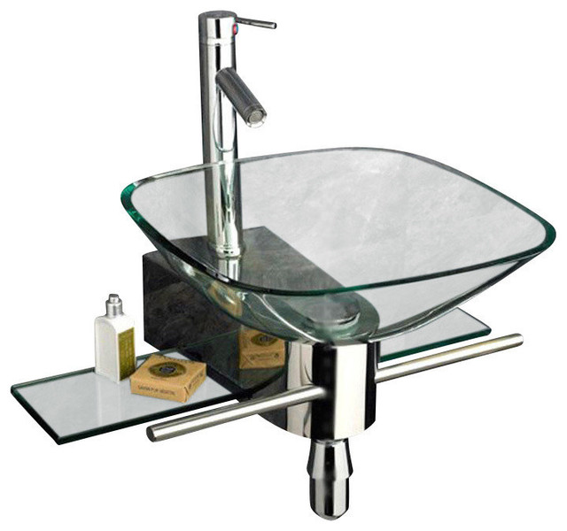 modern pedestal vanity and glass vessel sink combo set, 20