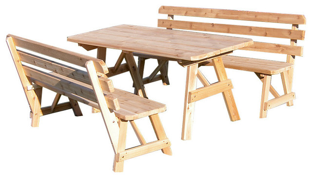 Wondrous Cedar 6 Picnic Table With 2 Detached Backed Benches Unfinished Beatyapartments Chair Design Images Beatyapartmentscom