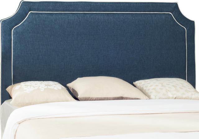 Safavieh Dane Denim Blue And White Piping Headboard, Navy And White, Full.