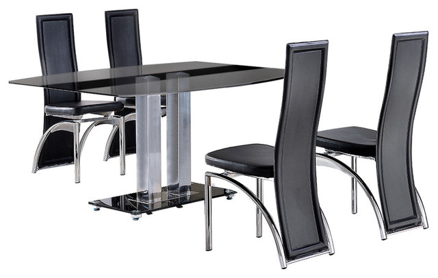 Roma Tempered Glass, Chrome Dining Table, 4 Alisa Leather Chairs, 150 cm, Black