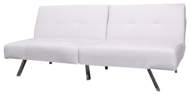 Victorville Foldable Futon Sofa Bed White