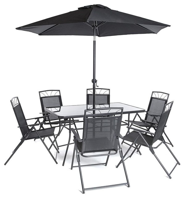 8-Piece Memphis Steel Dining Collection, Includes 6 Chairs, Dining Table &  Paras - 8-Piece Memphis Steel Dining Collection, Includes 6 Chairs, Dining