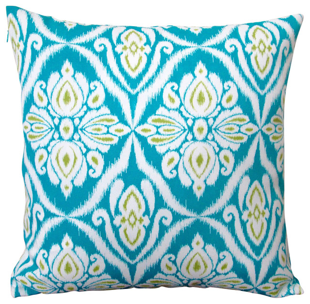 All Modern Outdoor Pillows : Artisan Pillows Outdoor Geometric Peacock Throw Pillow, Set of 2, Blue - Outdoor Cushions And ...