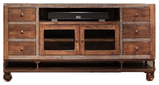 """Urban Rustic Gabriel Tv Stand With Casters, 76""""."""