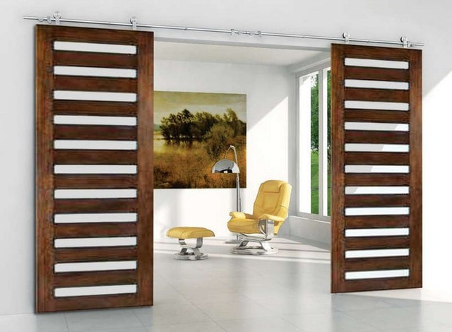 Modern double sliding barn door hardware for double for Modern sliding doors