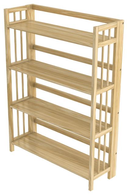 Stony Edge Folding Bookcase 4 Shelves 32 Natural Wood Color