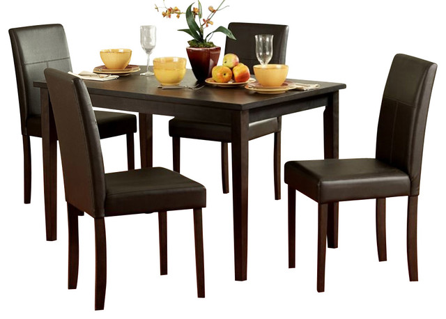 Homelegance Dover 5 Piece Rectangular Dining Room Set In Espresso Sets
