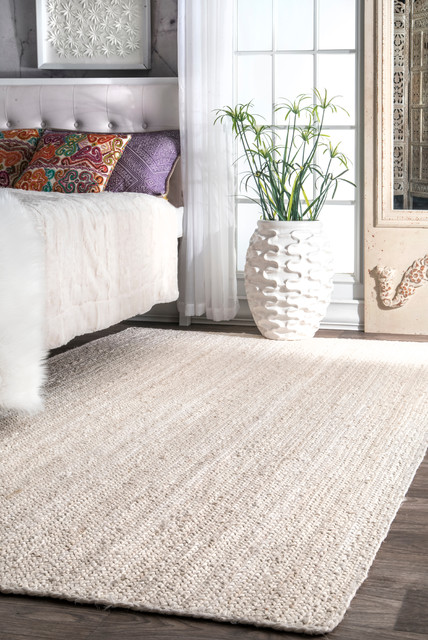 Hand-Woven Solid Jute Braided Jute Area Rug, Off White, 10'x14'