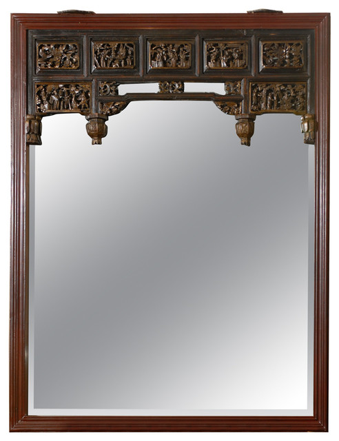 Consigned Carved Chinese Mirror Asian Wall Mirrors by Franya
