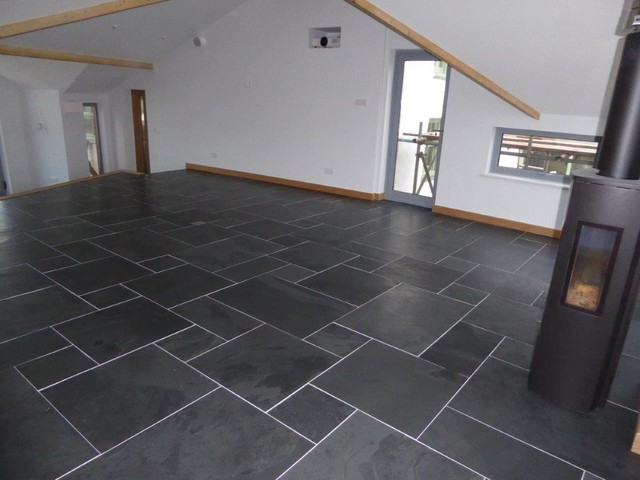 Brushed Black Slate Flooring Modern