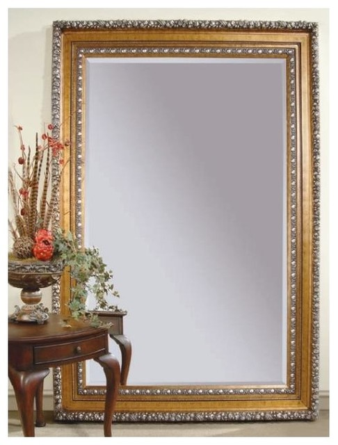 leaning floor mirror in gold u0026 silver leaf frame