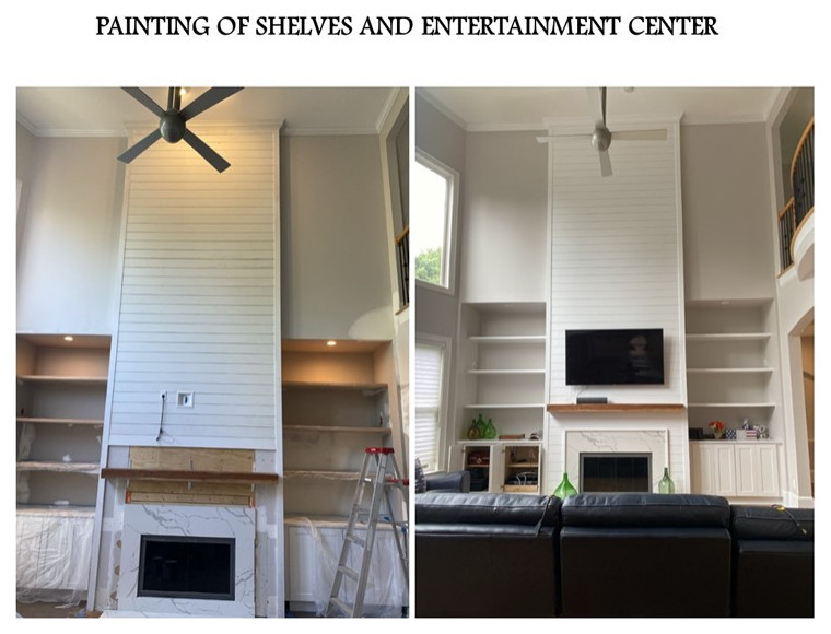 Painting entertainment center BEFORE & AFTER