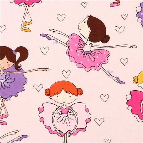 Pale Pink Ballerina Fabric With Hearts Timeless Treasures