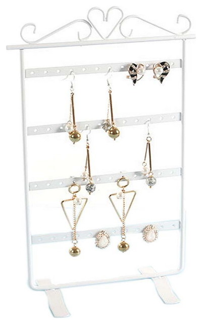 Jewelry Box Earrings Storage Case Display Stand 31x16cm White