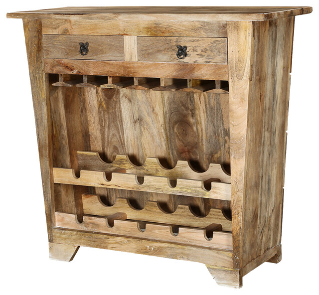 Modern Farmhouse Mango Wood Rustic Wine Bar Cabinet