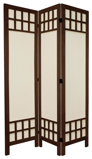 5 1 2 Ft Tall Window Pane Fabric Room Divider Burnt Brown