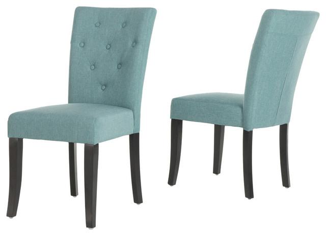 Surprising Gdf Studio Ostrom Blue Fabric Dining Chairs Set Of 2 Inzonedesignstudio Interior Chair Design Inzonedesignstudiocom