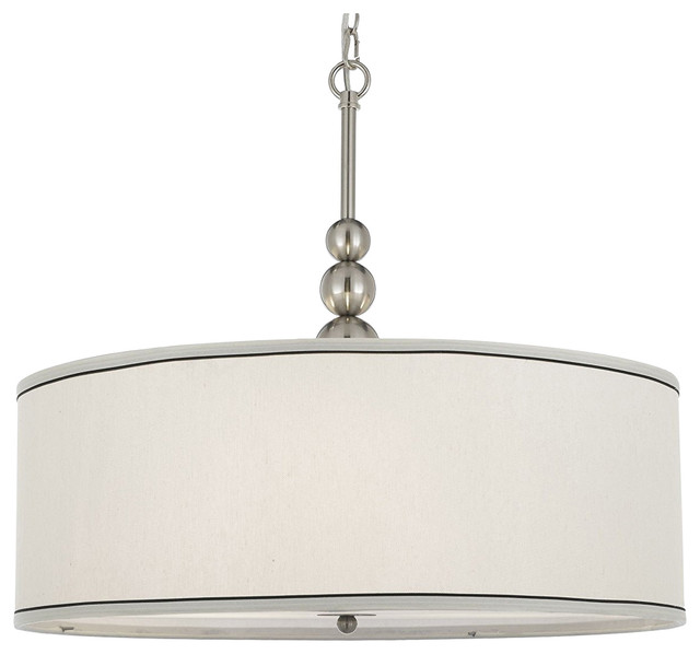 Stewart 3-Light Chandelier With Drum Shade.