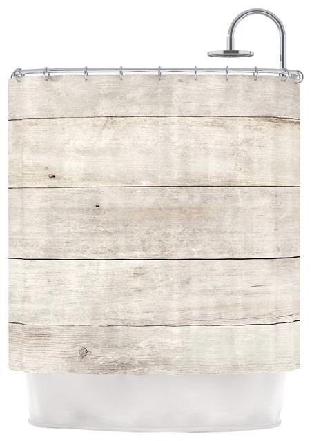 """Whitewashed Wood"" by Susan Sanders Shower Curtain, Beige and White contemporary-shower"