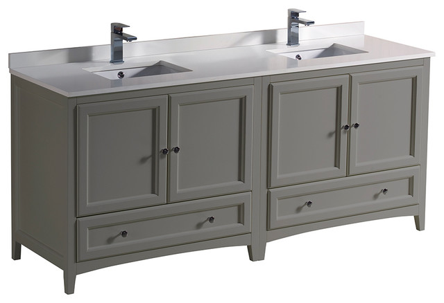 Oxford 72 Gray Traditional Double Sink Bathroom Cabinets With Top And Sinks Transitional Bathroom Vanities And Sink Consoles By Bathroom Marketplace
